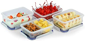 4 Rectangular Food Storage Containers with Divisions, by Popit!