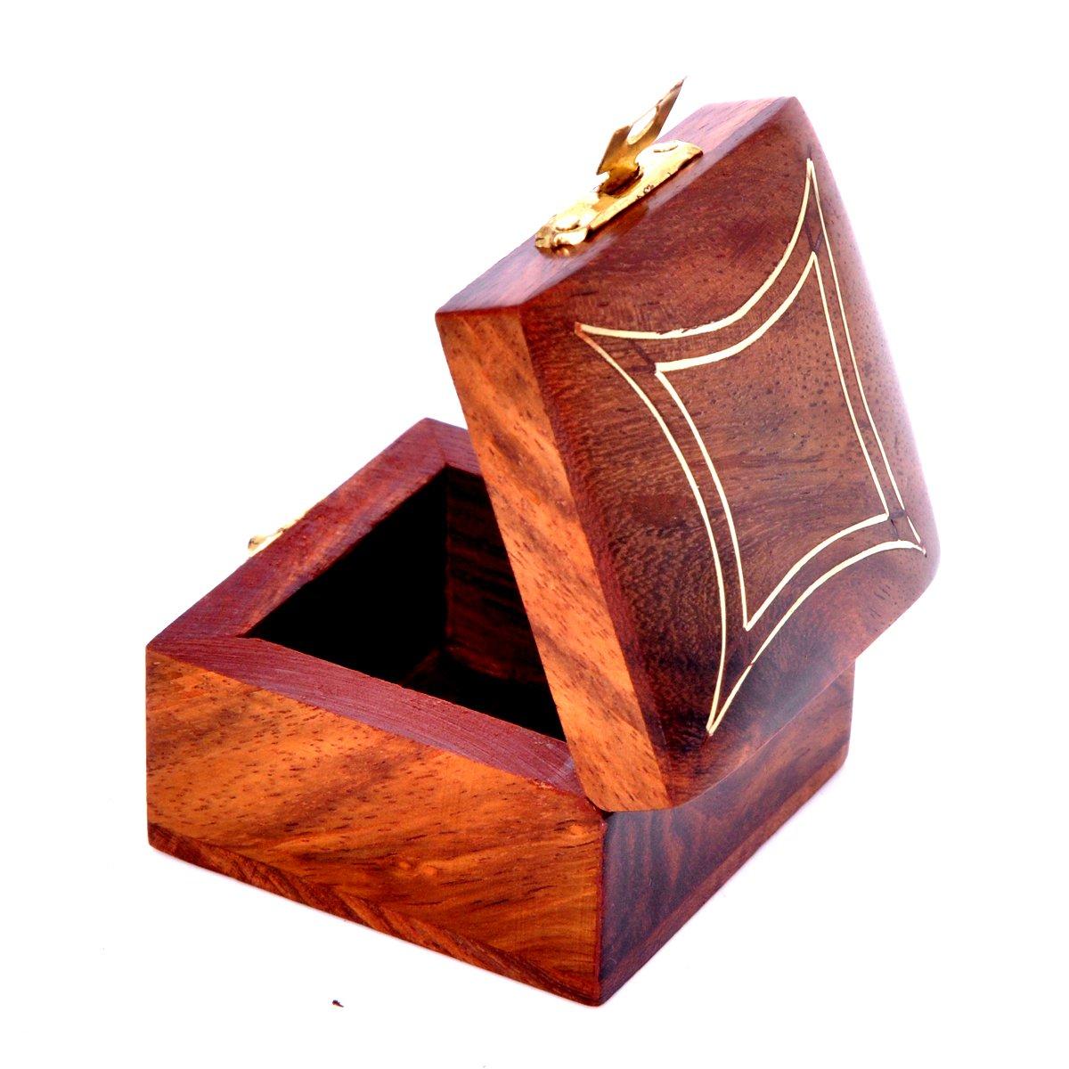 Hashcart Bague en Bois Bo/îte /à Bijoux Faite /à la Main Indien Fil de Laiton Incrustation Cadeau pour Les Femmes