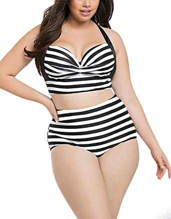 632ed06a3fd Amazon.com  Linda Per Comfortable Womens Plus Size Print Curvy High Waist 2  Pieces Push Up Bikini Swimsuit  Clothing