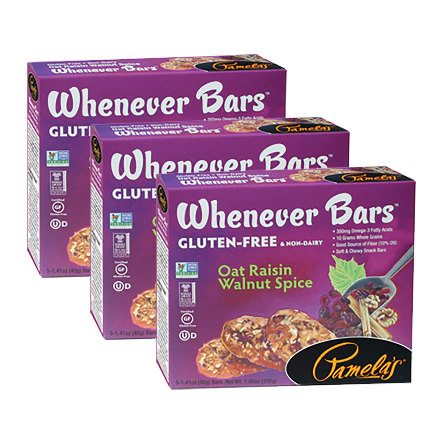 Pamela's Products Whenever Bars, Oat Raisin Walnut Spice, 5 CT (Pack of 3)