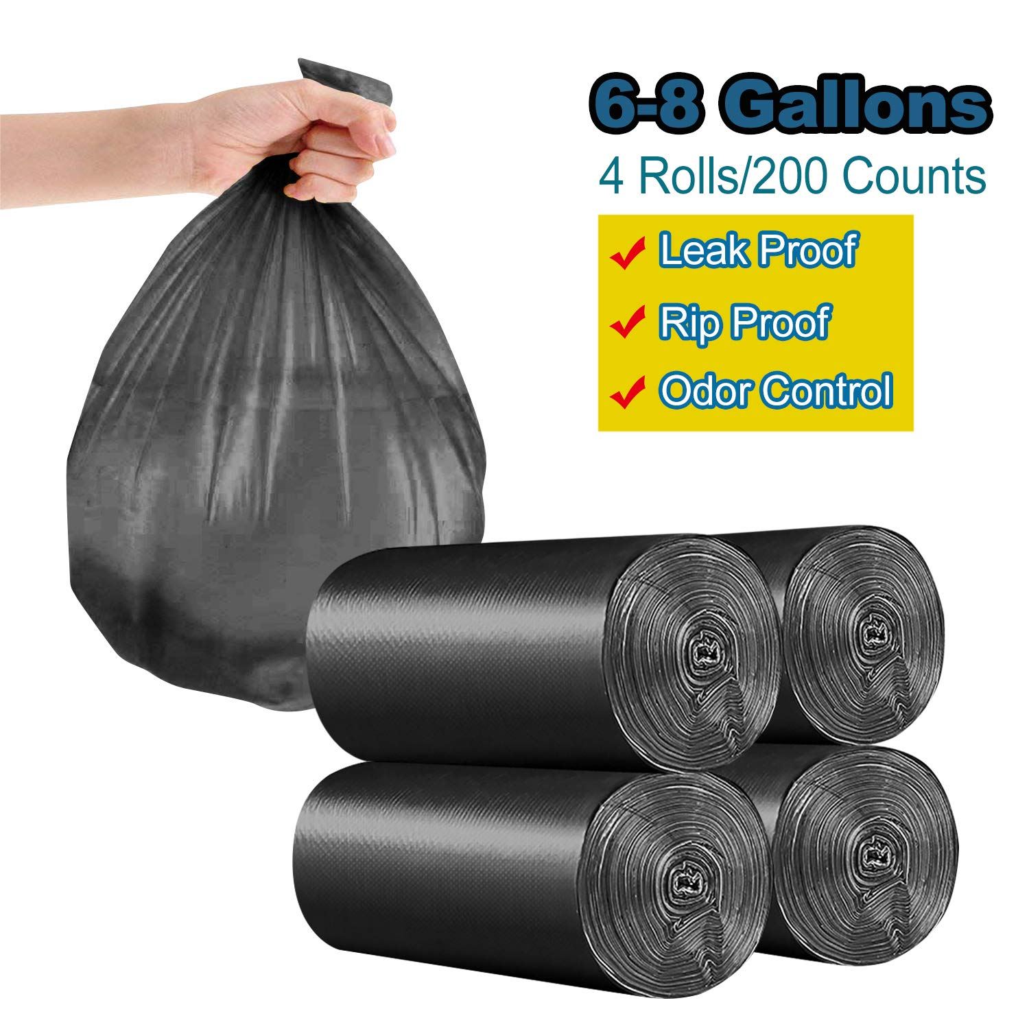- Black Extra Thicken Strong Rubbish Bags for Bedroom Home Kitchen Office Waste Bins 6-8 Gallon//200pcs Trash Bags 200 Counts//4 Rolls Yachee Medium Bathroom Trash can Liners Garbage Bags