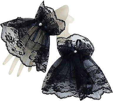 1 Pair Women Girls Handmade Ruffled Floral Lace Bowknot Wrist Sleeves Wristband