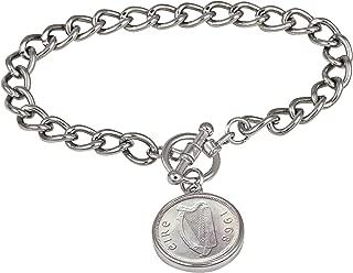 product image for Irish Threepence Coin Silvertone Toggle Bracelet