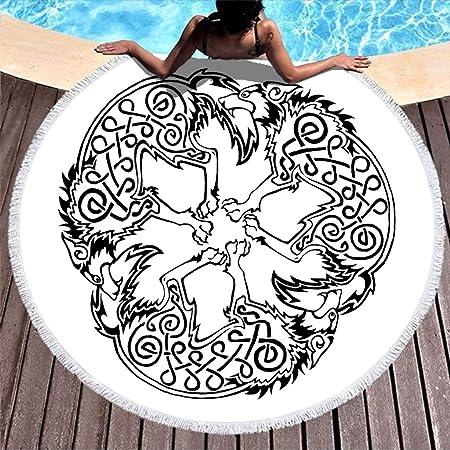 Toalla de playa con diseño de tatuaje celta de lobo trisquel ...
