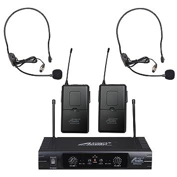 Audio2000 de 6525hs UHF 32 seleccionable frecuencia micrófono inalámbrico con auriculares