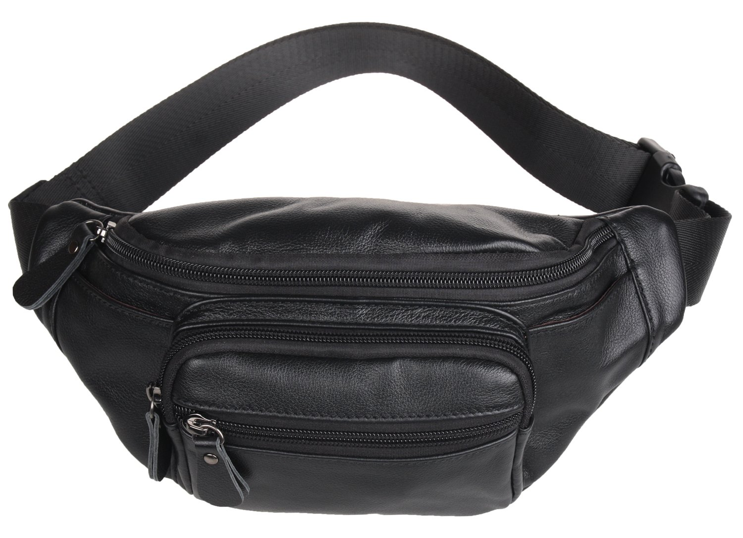 Polare Genuine Leather Fanny Pack / Waist Bag / Organizer (Classic Style) (Black)