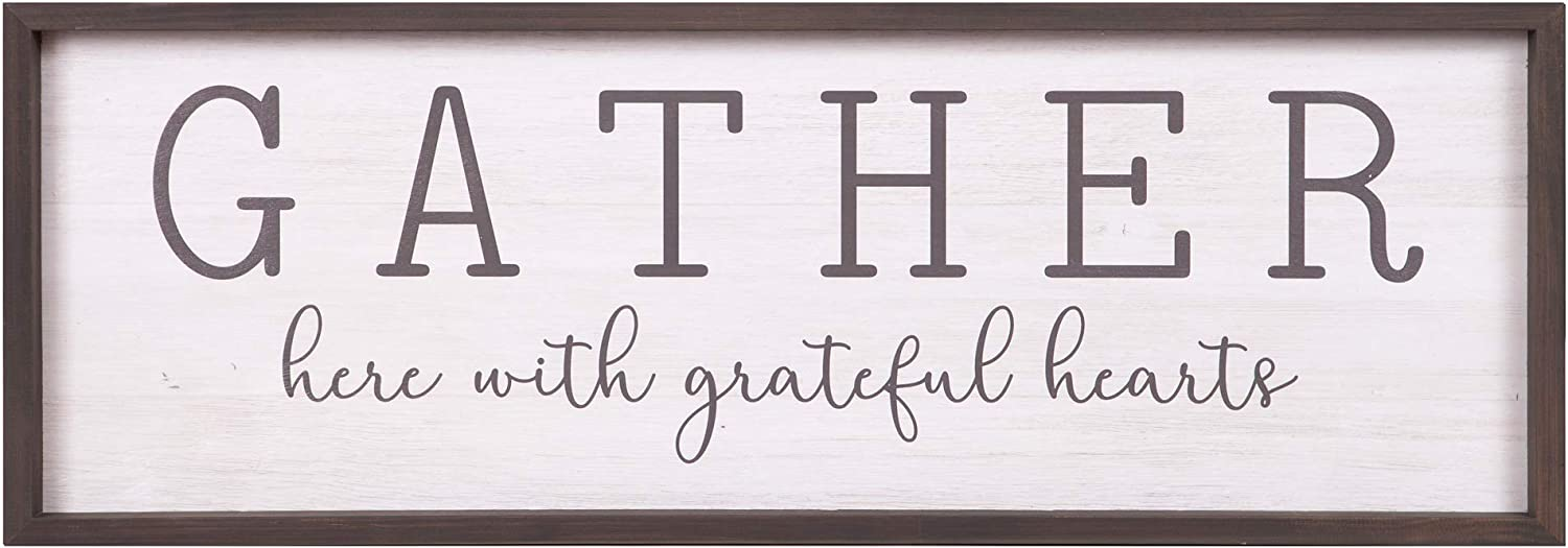 Gather With Grateful Hearts Rustic Wood Framed Wall Art Décor, 12x36