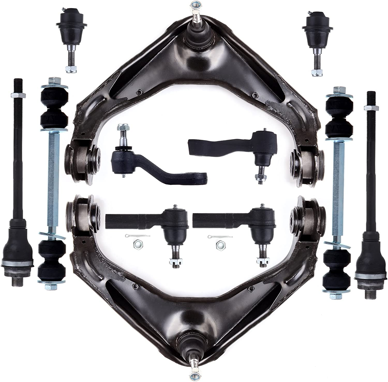 ECCPP Front Suspension Control Arm and Ball Joint Assembly Tie Rod Ends Inner and Outer Sway Bar Link Kits Idler Arm and Pitman Arm Kit for 2002-2006 Chevrolet Avalanche 2500 Qty 12