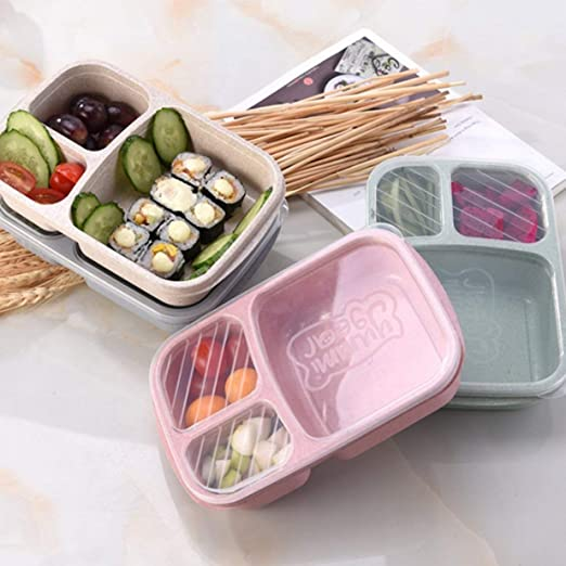 Paja de trigo Bento Box 3 rejillas con tapa Microondas Caja de ...
