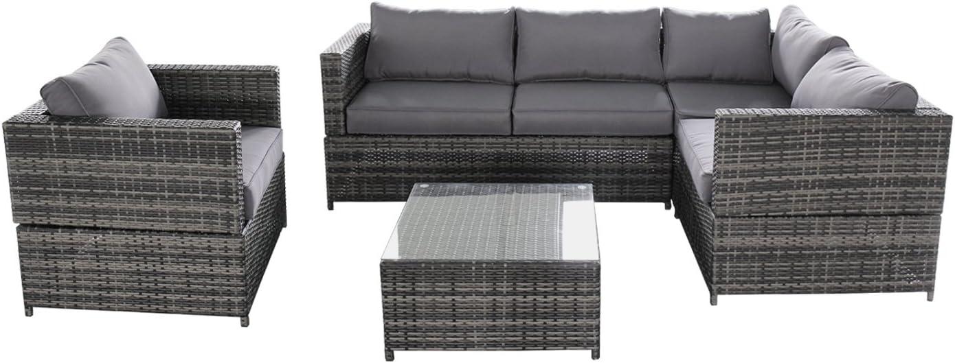 Magari Furniture SJ-15125 Complete 4 Piece PE Wicker Rattan Pool Outdoor Patio Garden Set with Cushions, Grey