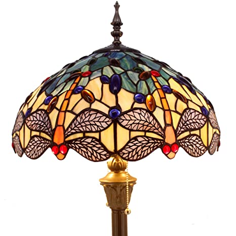 Delightful Tiffany Floor Lamp Standing Light W16 H64 Inch Green Yellow Dragonfly  Lampshade For Bedroom