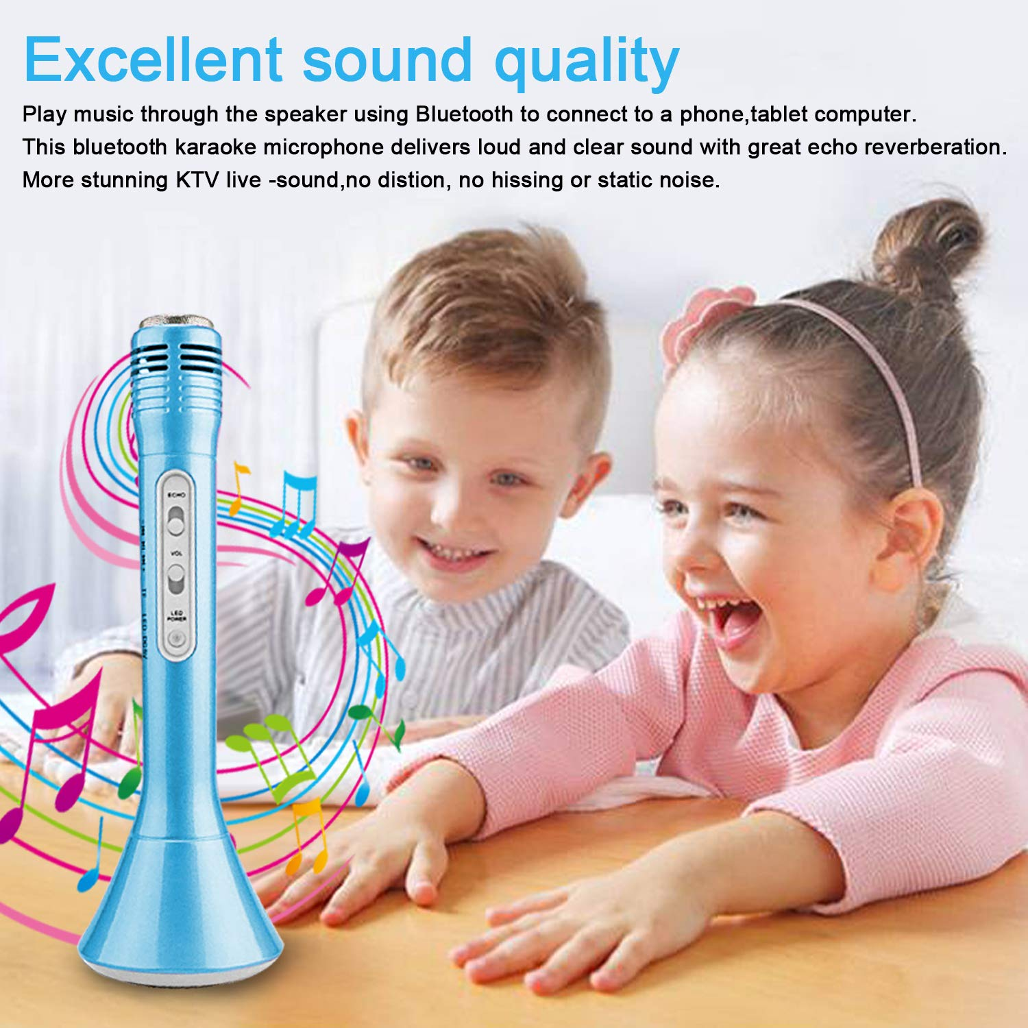 Kids Karaoke Machine Wireless Singing Microphone with Bluetooth Speaker Colorful LED Lights Handheld Portable Music Playing Toys  for Girls Boys Home Party KTV Xmas Birthday Gifts Andriod iOS PC iPad by Santery (Image #2)