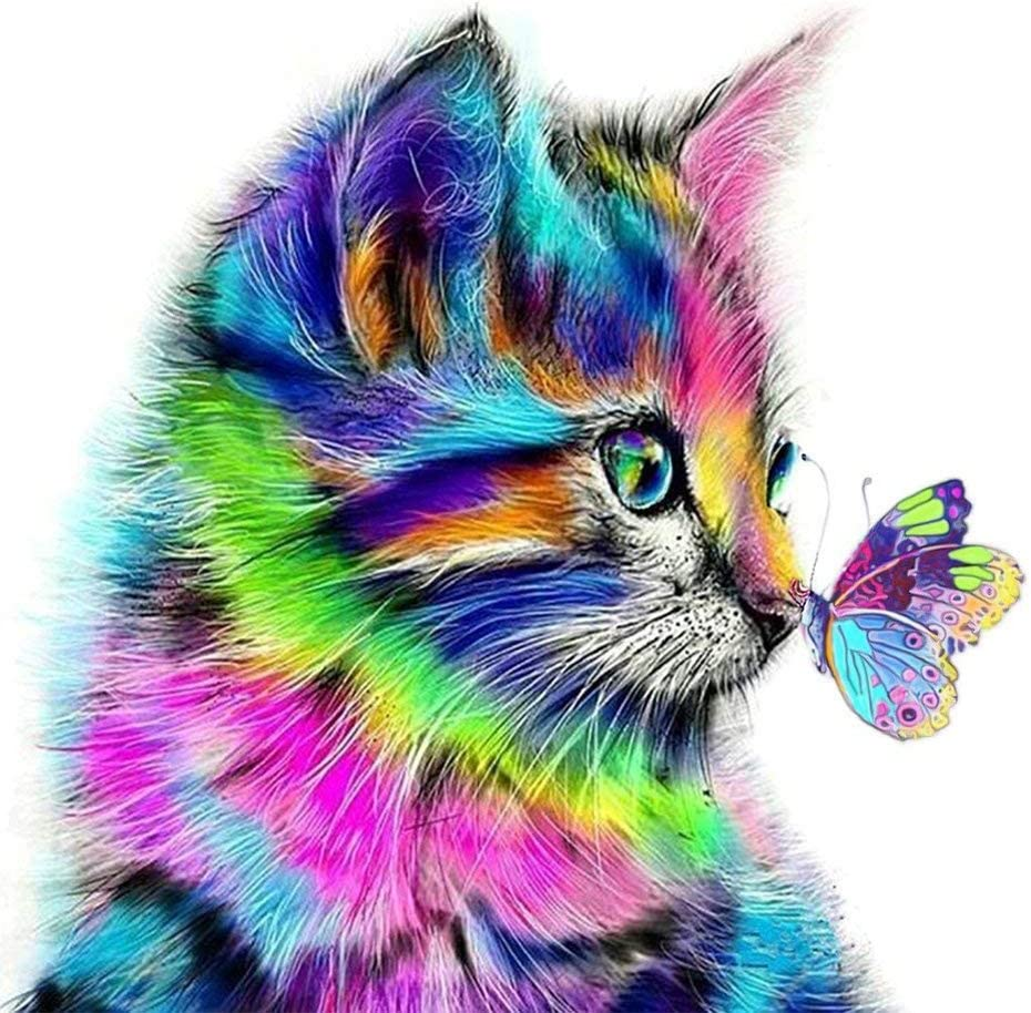 Full Drill 5D Diamond Painting Playing Cat Cross Stitch Kits Embroidery Decor