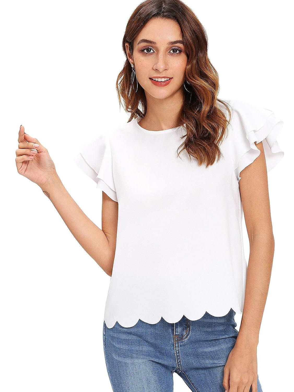 19fe5f07 Floerns Women's Ruffle Sleeve Scallop Hem Short Sleeve Blouse Top at Amazon  Women's Clothing store: