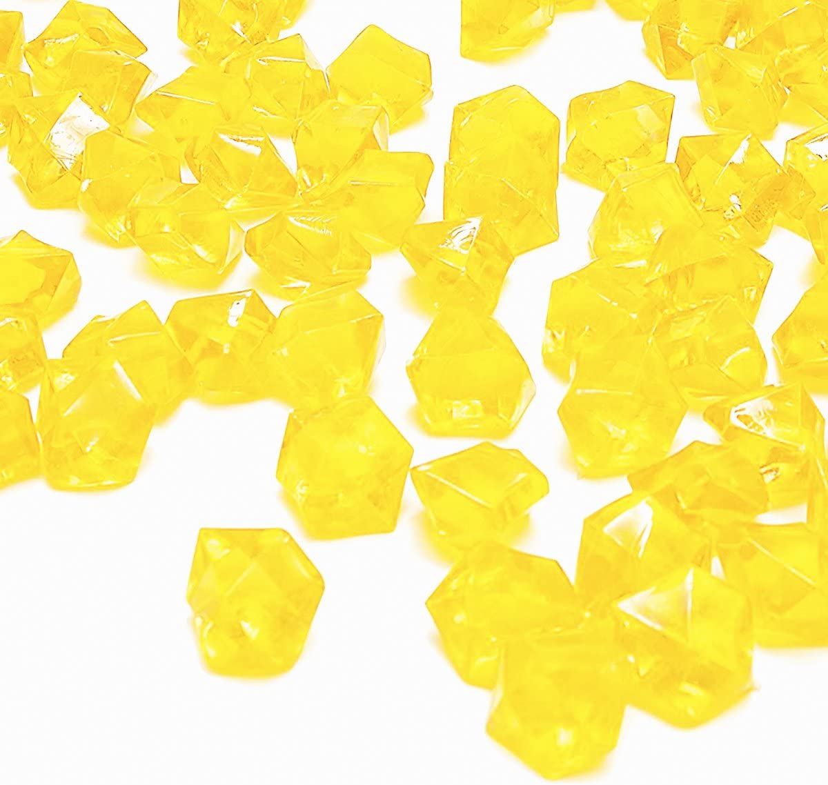 Yellow Fake Crushed Ice Rocks, 150 PCS Fake Diamonds Plastic Ice Cubes Acrylic Clear Ice Rock Diamond Crystals Fake Ice Cubes Gems for Home Decoration Wedding Display Vase Fillers by DomeStar