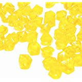 DomeStar Yellow Fake Crushed Ice Rocks, 150 PCS Fake Diamonds Plastic Ice Cubes Acrylic Clear Ice Rock Diamond Crystals…