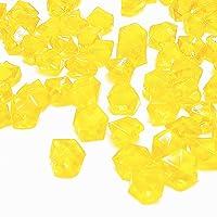 Yellow Fake Crushed Ice Rocks, 150 PCS Fake Diamonds Plastic Ice Cubes Acrylic Clear...