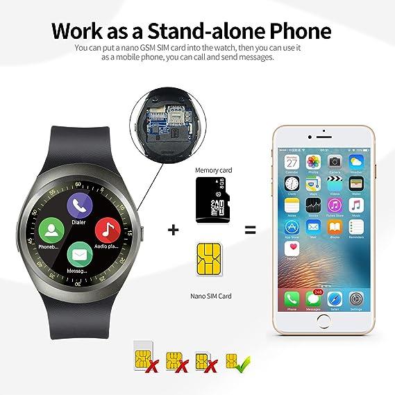 INDI D08 Reloj Inteligente Smartwatch Bluetooth 4.0 con la Batería de larga duración y la Camara de,Análisis de Sueño,Podómetro,Fitness tracker para moviles ...