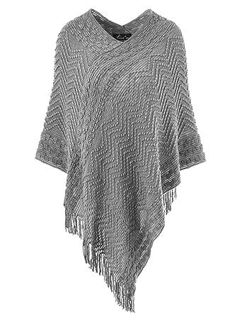 384bc19947c098 Ferand Eleganter Bequemer Damen Poncho Pullover mit Chevronstreifen und  Fransen, One Size, Grau