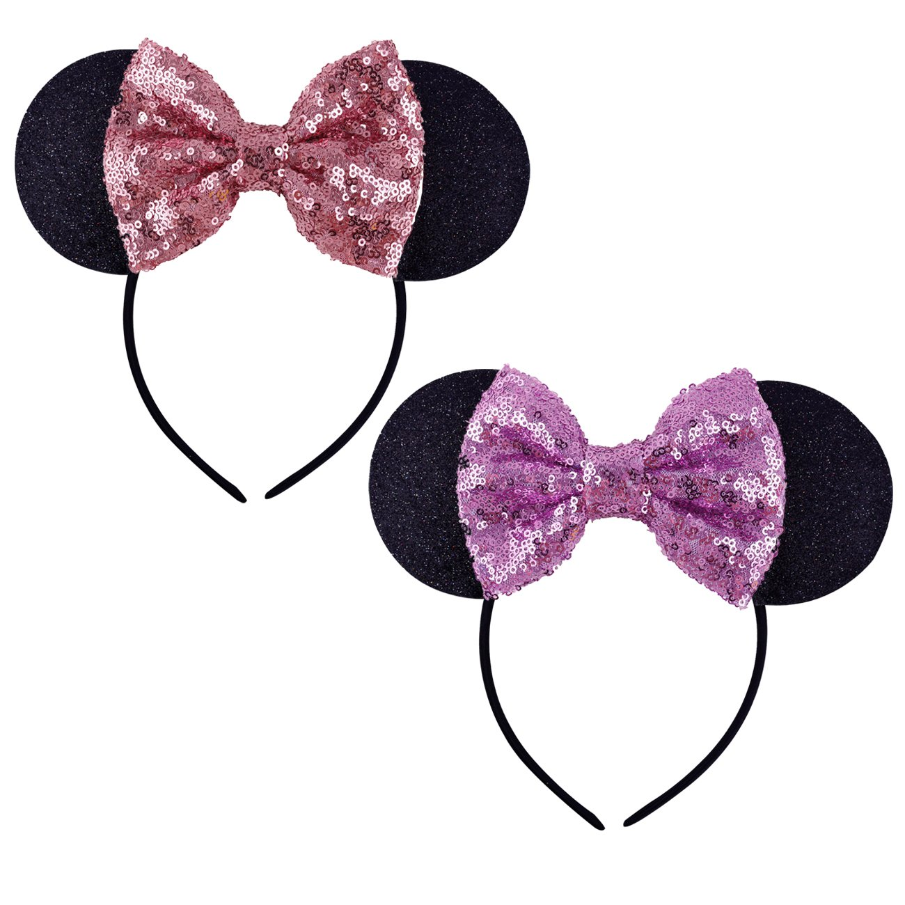 DRESHOW Mickey Ears Headbands Sequin Hair Band Accessories for Women Girls Cosplay Party