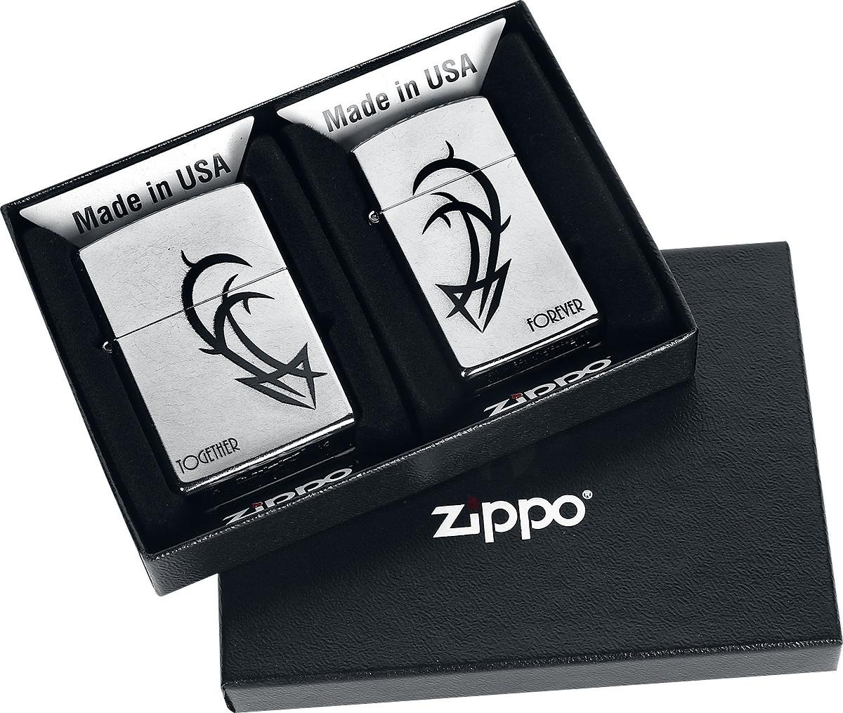 Zippo 207 1607 60001338 60001338 60001338 Plus Together Forever Benzinfeuerzeug, Messing, Street Chrom, 1 x 3,5 x 5,5 cm 71d0b0