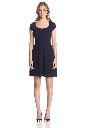 Trina Turk Women's Elsa Textured Pointelle Dress, Midnight, Petite