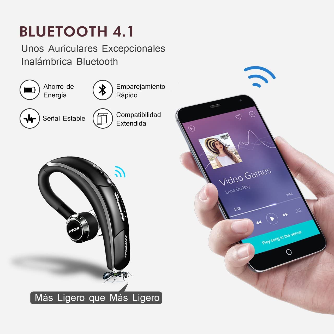 Manos Libres Bluetooth Auricular, Mpow Auriculares Bluetooth 4.1 ...