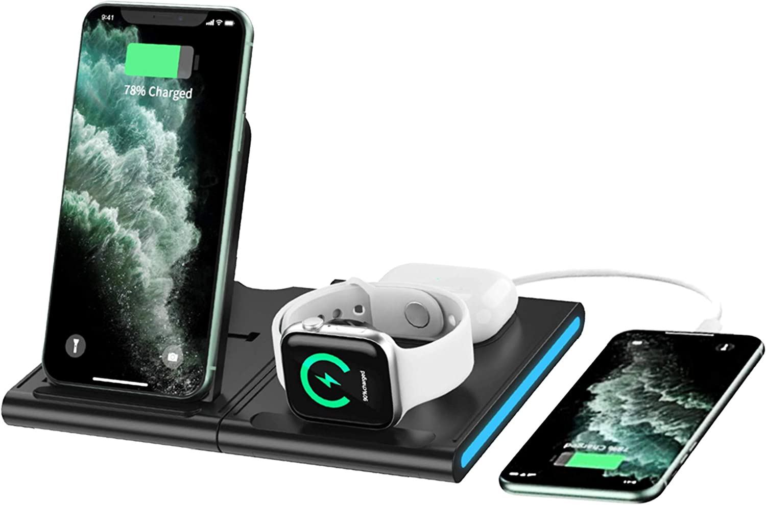 GoldWin 4-in1 Fast Wireless Charging Station, Qi Wireless Charge 4 Devices 15W, Bundled with QC 3.0 Fast Charge Adapter. for iPhones, Airpods, Apple Watch, and Many Other Phones.