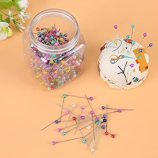 NBEADS 10 Sets 300pcs 2 Styles of Sewing Pins with Tomato Pin Cushion Sewing Tools Kits for Dressmaking Jewelry Components Craft Decoration