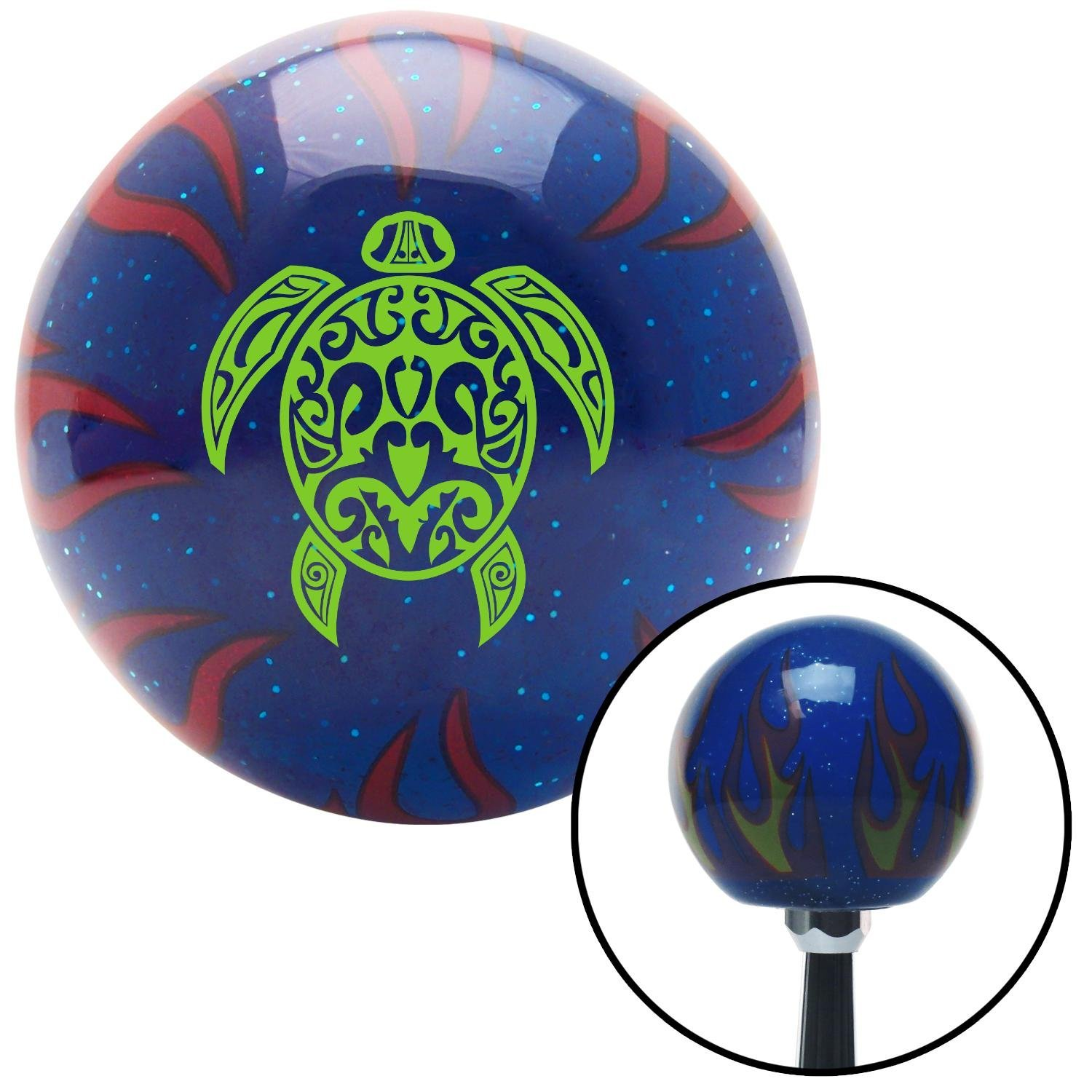 Green Giant Turtle American Shifter 249415 Blue Flame Metal Flake Shift Knob with M16 x 1.5 Insert
