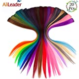 AliLeader 20Inch Straight Ombre Colored Party Highlights Clip in Hair Extensions.Heat-Resistant Synthetic Multiple Colors Hairpieces for Kids(Full 20Pcs)