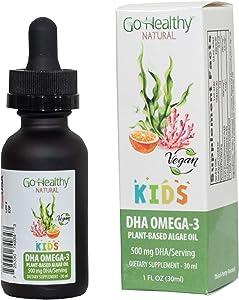 Go Healthy Natural Kids Omega-3 DHA/EPA Algae Oil, Vegan Plant-Based, Orange 30ml Glass 30-60 Servings