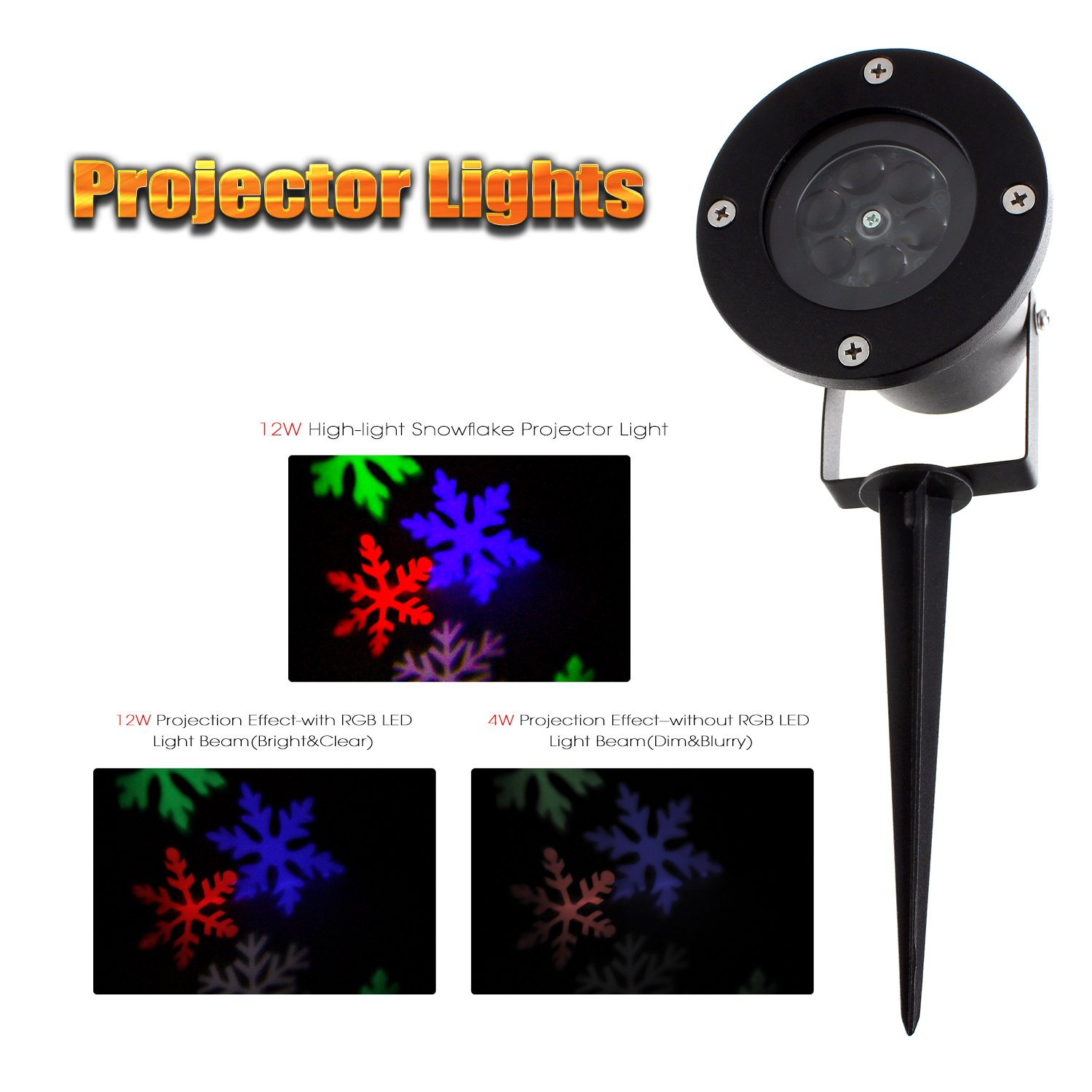 Quellance Christmas Projector Lights Snowflake, 12W Projector Light Outdoor, High-Light LED Light Lawn Garden Waterproof Landscape Spotlight with 4 Color Snowflake for Halloween, Christmas, Parties