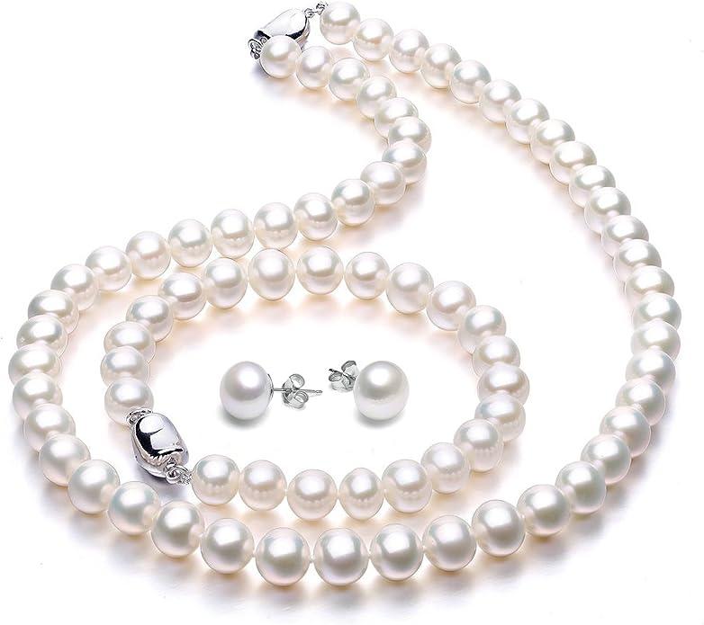 VIKI LYNN Perlenkette Perlen Halskette mit Süßwasserzuchtperlen
