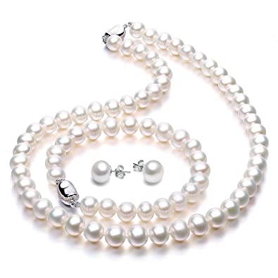 00c57c303 Amazon.com: Freshwater Cultured Pearl Necklace Set Includes Stunning  Bracelet and Stud Earrings Jewelry for Women - VIKI LYNN: Jewelry