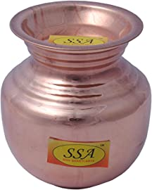 SHIV SHAKTI ARTS Handmade 100% Pure Copper Pot with Lid , 1000ML(6.5 Inch, Brown)