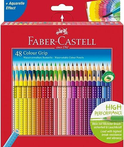 Faber-Castell 112449 - Estuche de cartón con 48 ecolápices Grip de colores, multicolor: Amazon.es: Oficina y papelería