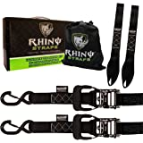 """RHINO USA Ratchet Straps Motorcycle Tie Down Kit, 5,208 Break Strength - Includes (2) Heavy Duty 1.6"""" x 8' Rachet Tiedowns with Padded Handles & Coated Chromoly S Hooks + (2) RHINO Soft Loop Tie-Downs"""