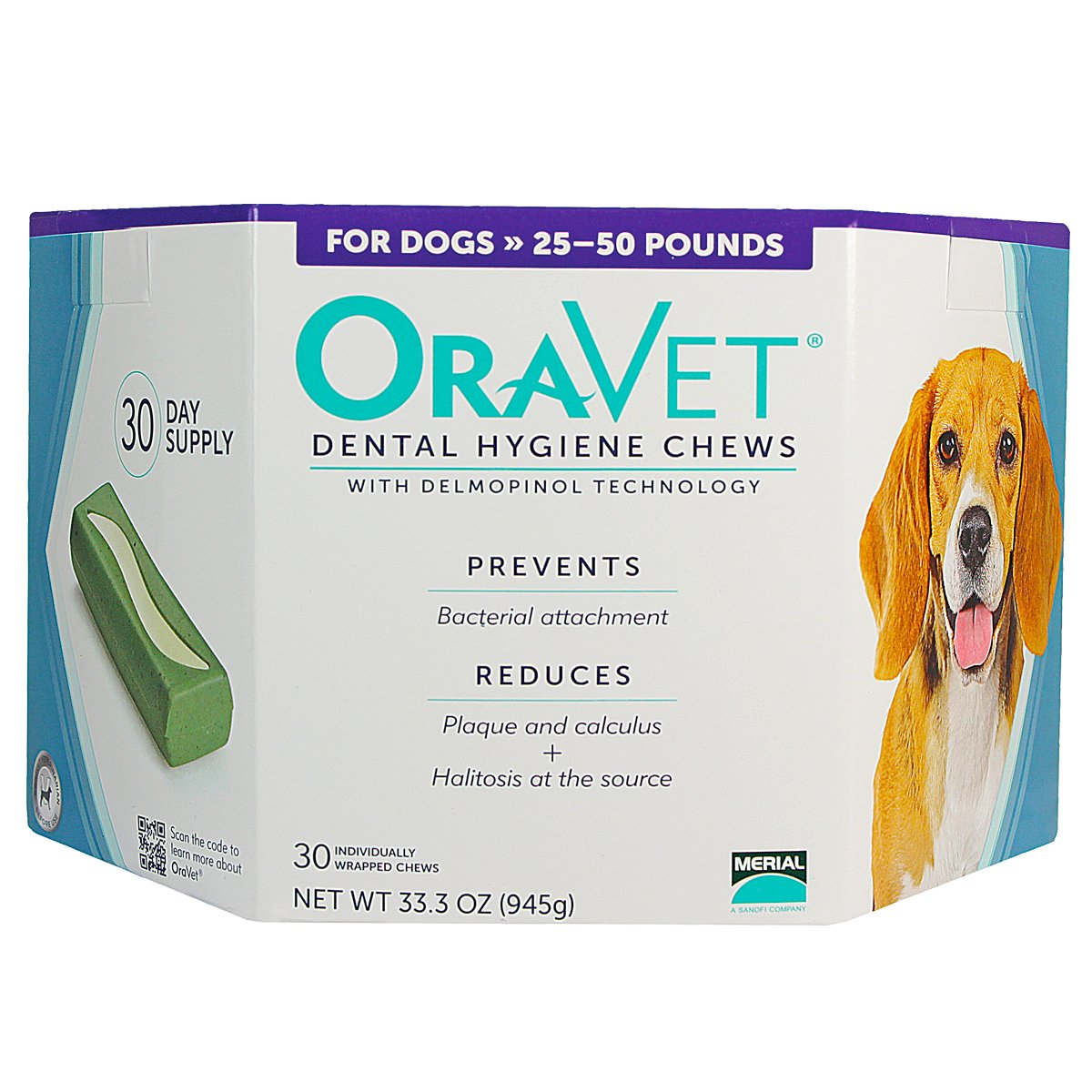 Oravet Dental Hygiene Chews, 25-50 lb, 30 ct, 3 pk + $8, off purchase with attached rebate form.