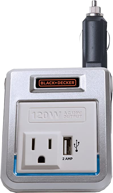 BLACK+DECKER PI120P 120W Power Inverter: 12V DC to 120V AC Outlet with 2A USB Power Charger