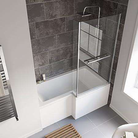 1500 mm derecha en forma de L recto ducha bañera con mampara de ducha + lado Panel para bañera: iBathUK: Amazon.es: Hogar