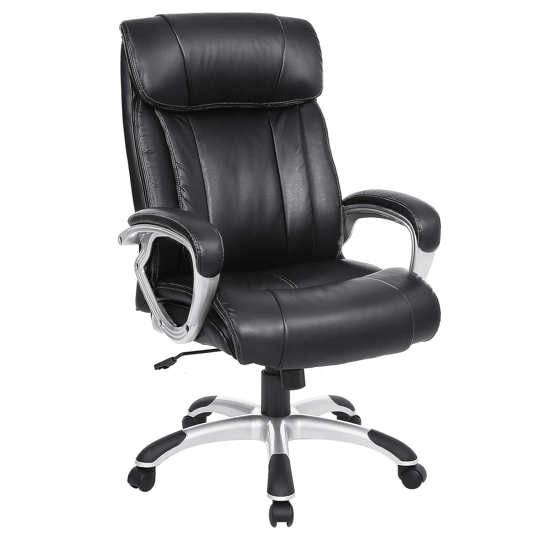 SONGMICS Bürostuhl breite Sitzschale mit Federkern Hohe Rückenlehne Chefsessel Computerstuhl PU schwarz OBG55BK, 80CM38CM65CM OBG55BK