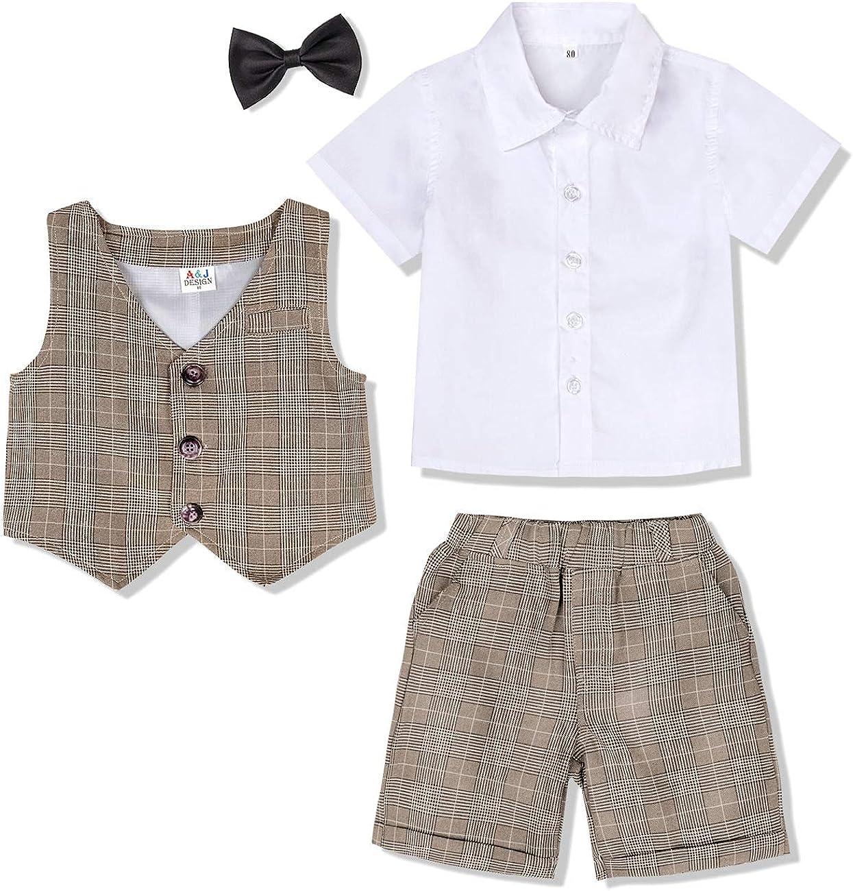 3pcs Suit Shirt /& Vest /& Shorts A/&J DESIGN Baby Boys Gentleman Outfits Sets