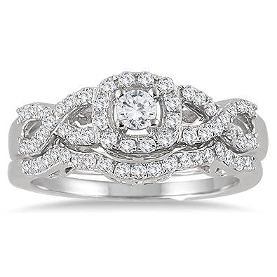 Amazon AGS Certified 3 4 Carat TW Diamond Infinity Bridal Set