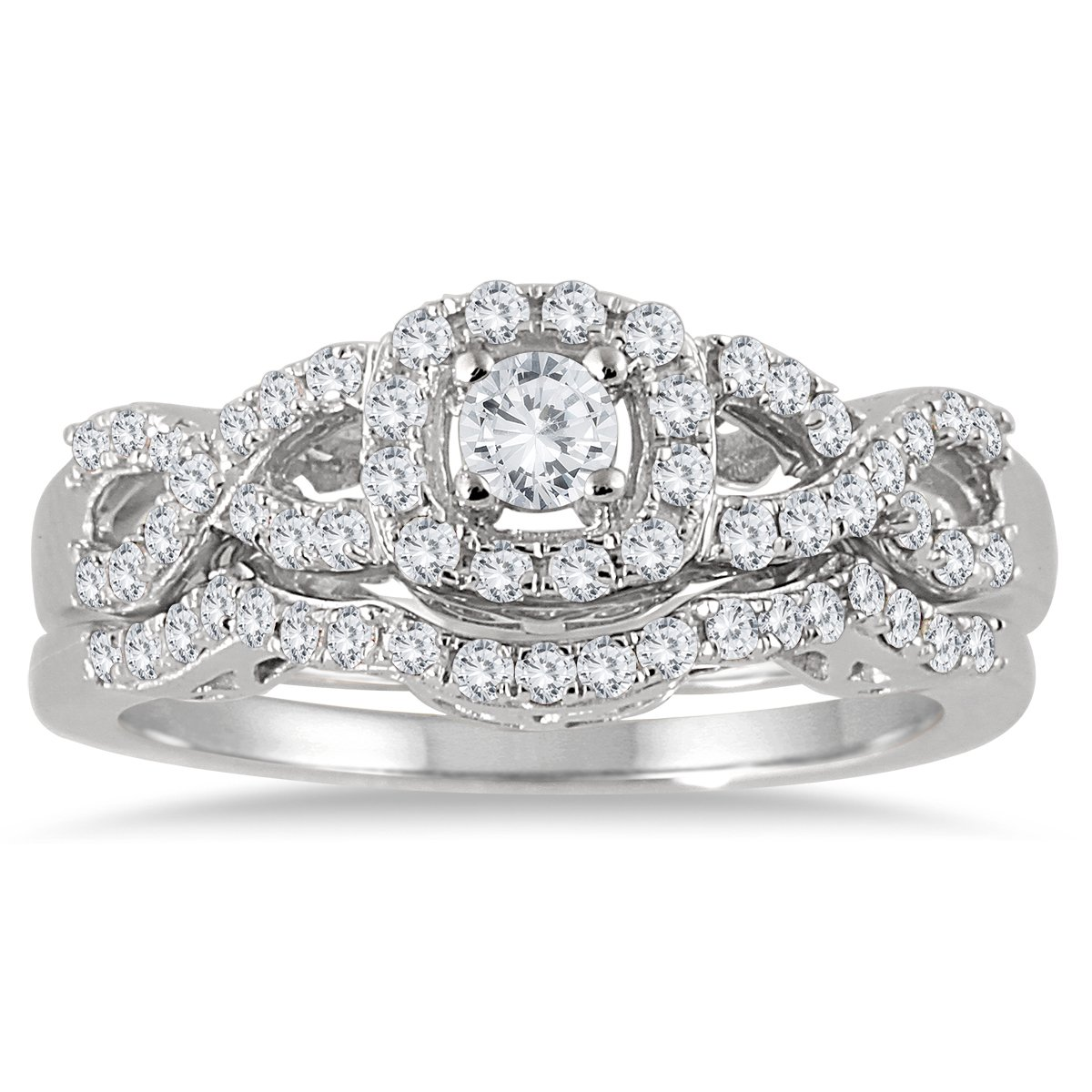 AGS Certified 3/4 Carat TW Diamond Infinity Bridal Set in 10K White Gold (K-L Color, I2-I3 Clarity)