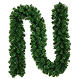 Ariv Green Christmas Garland 9FT 270CM Xmas Tree Decoration Garland Bushy 220 PVC Tips for Xmas Holiday Door Window Wall Party Fireplace Ornaments