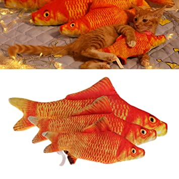 3 Size Pet Cat Kitten Chewing Fish Stuffed Mint Catnip Simulation Play Plush Toy