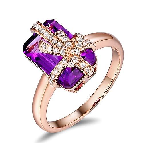 Epinki 18k Oro Anillos para Mujer Arco-nudo Rectángulo Anillo de Diamante Anillos Mujer Púrpura