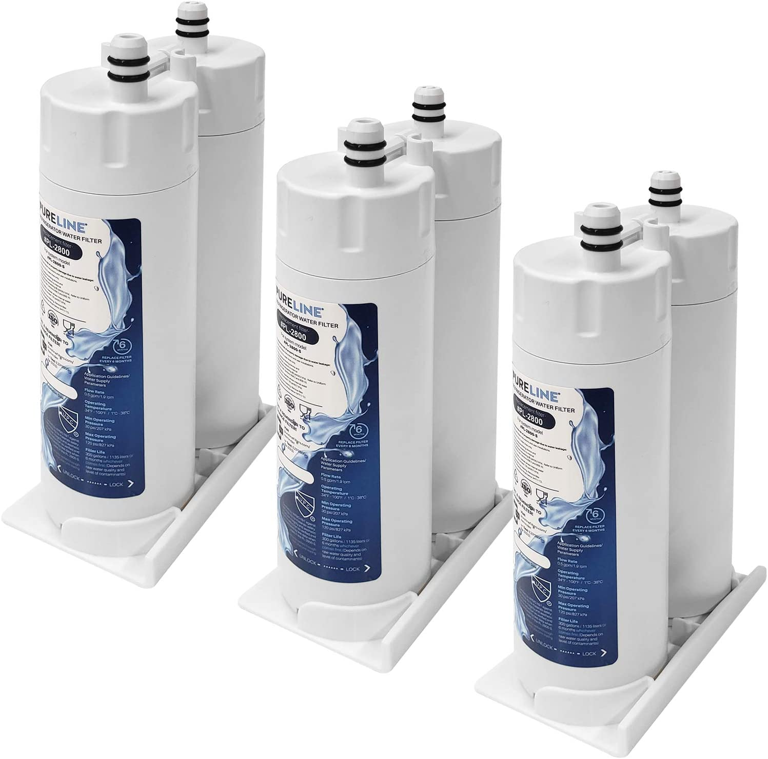PURELINE PureAdvantage Water Filter Replacement. Compatible with Electrolux EWF01, FC-300, FC300, EFF-6018A, 241988703. Triple Action Filtration with Advance Carbon Block. (3 Pack)