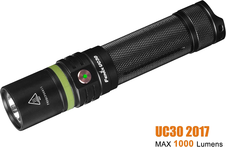 Fenix Flashlights, UC Series LED Flashlight, Model 30, 2017 Edition, Rechargeable, 1000 Lumen, Black